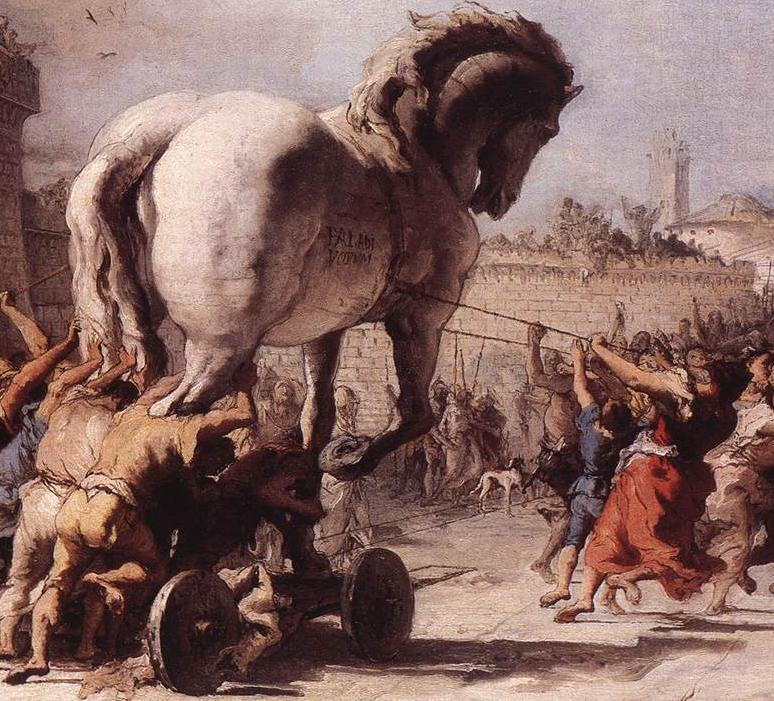 The procession of the trojan horse in troy by giovanni domenico tiepolo