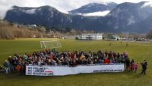 Squamish Citizens with banner: No Pipelines No Tankers No Woodfibre LNG