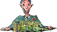 Greedy Cash Man Illustration