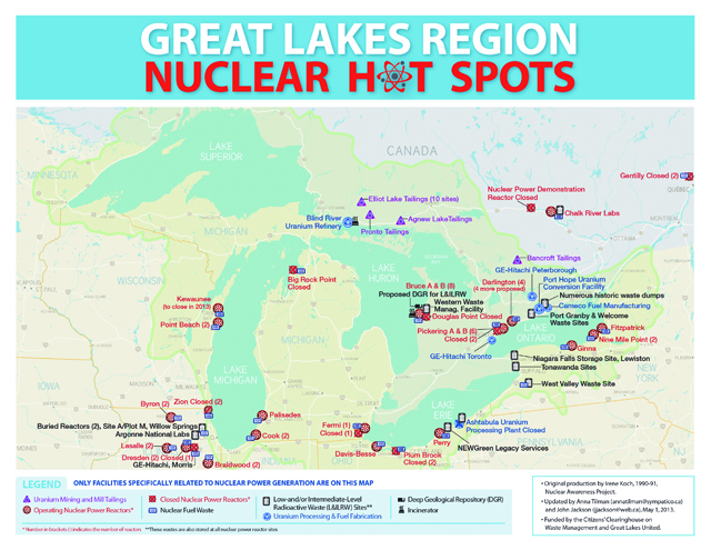 Great Lakes Nuclear Hot Spots Map