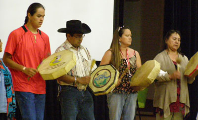 a group of singers and drummers from both the Tsihlqot'in and Secwepemc Nations, M Paquet photo