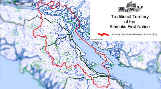 map of traditional territory of the K'omoks First Nation