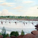 Thomas Davies, 1791: View of the Great Falls on the Ottawa River Lower Canada | photo of painting by Lynn Gehl | Akikodjiwan | Watershed Sentinel