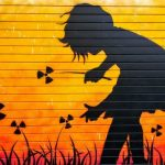 girl playing with radioactive flowers