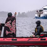 Indigenous women make final plea to Marine Harvest not to put any more farm salmon into Namgis territory. Photo by Alexandra Morton