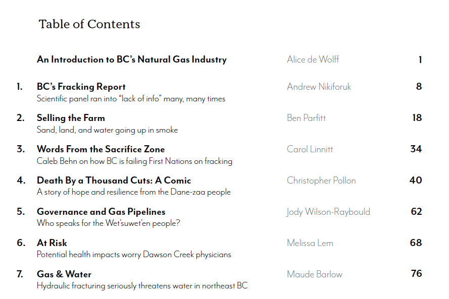 All Fracked Up! Table of Contents