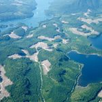 Aerial view of British Columbia forestry clear cuts